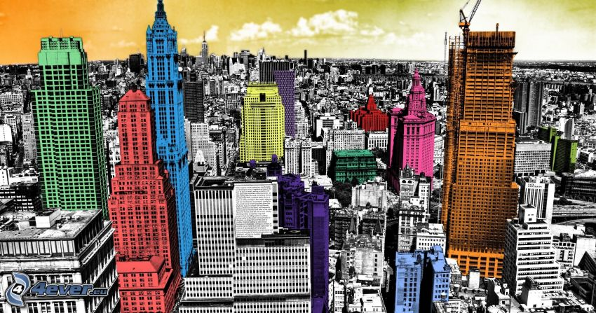 New York, Manhattan, färgglada hus, skyskrapor, stadsutsikt
