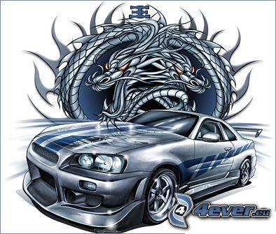 Nissan Skyline GT-R, teckning