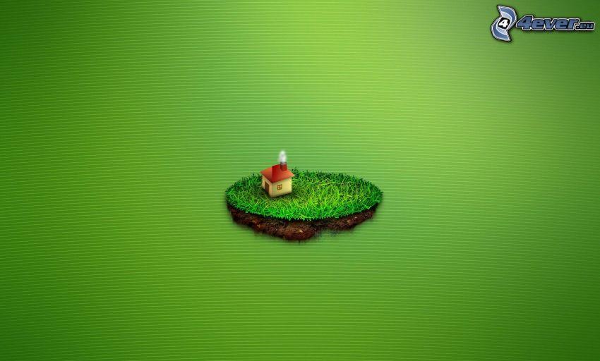 ö, hus, grön bakgrund
