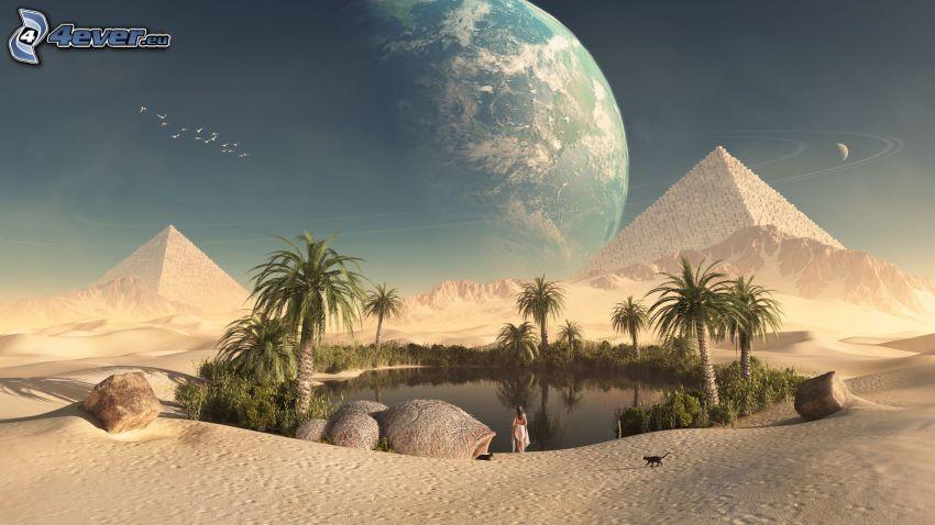 oas, öken, pyramider, måne, sjö