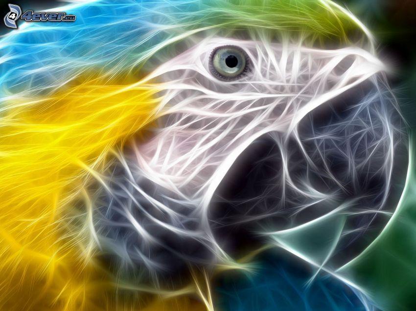 papegoja, fraktal fågel