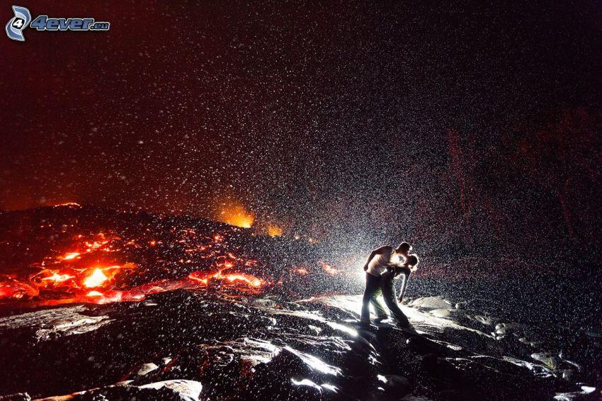 par, dans, vulkan, lava
