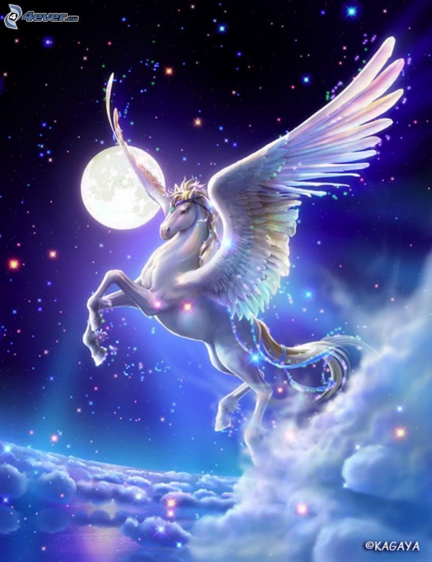 Pegasus, moln, måne, stjärnor