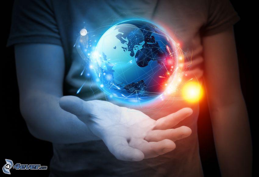 planeten Jorden, sol, hand