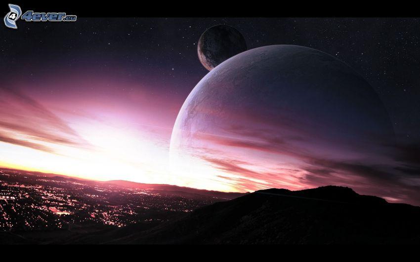 planeter, lila himmel, kvällsstad