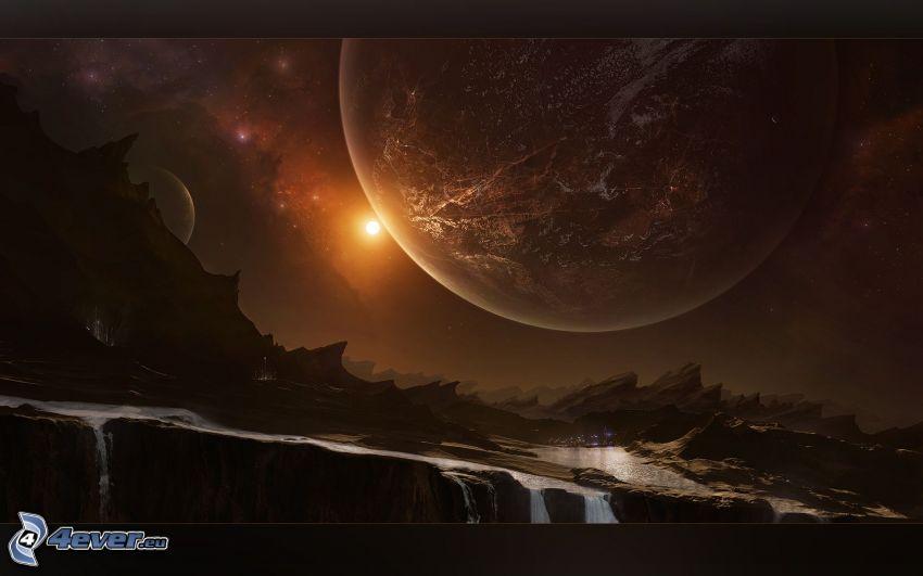 planeter, vattenfall, klippor