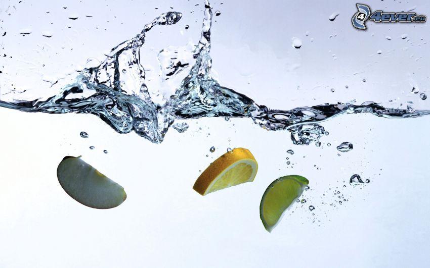 plask, äpple, apelsin, lime, vatten