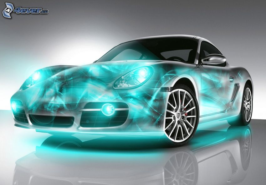 Porsche, neon