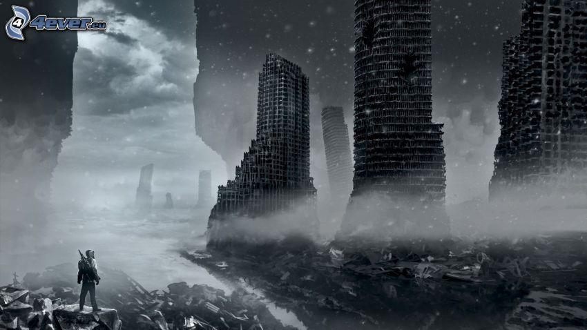 postapokalyptisk stad, förstörda byggnader, svart och vitt