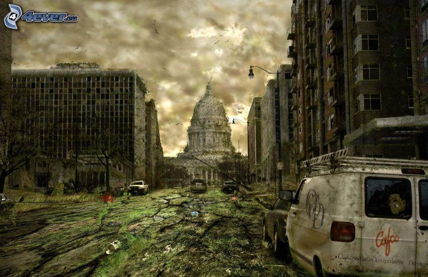 postapokalyptisk stad, The Capitol, lägenheter, bilar, vrak