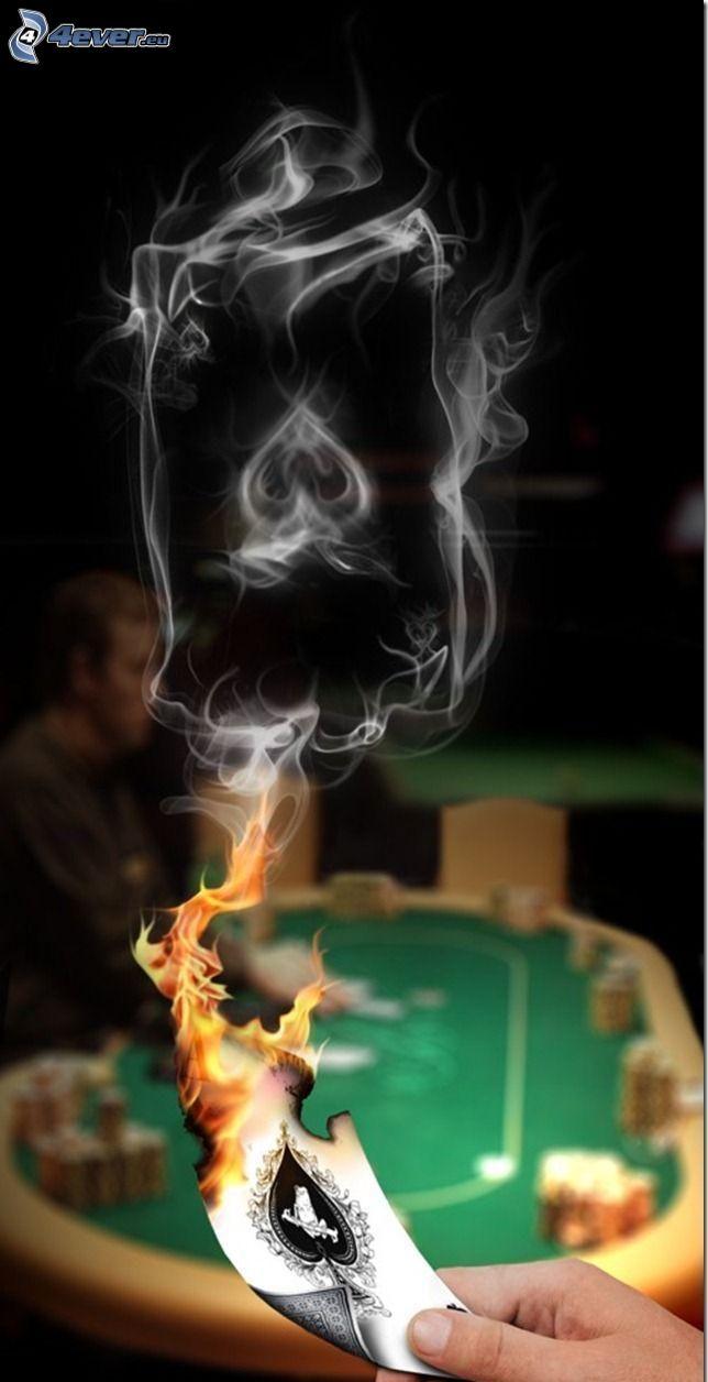 rök, kort, flamma, hand