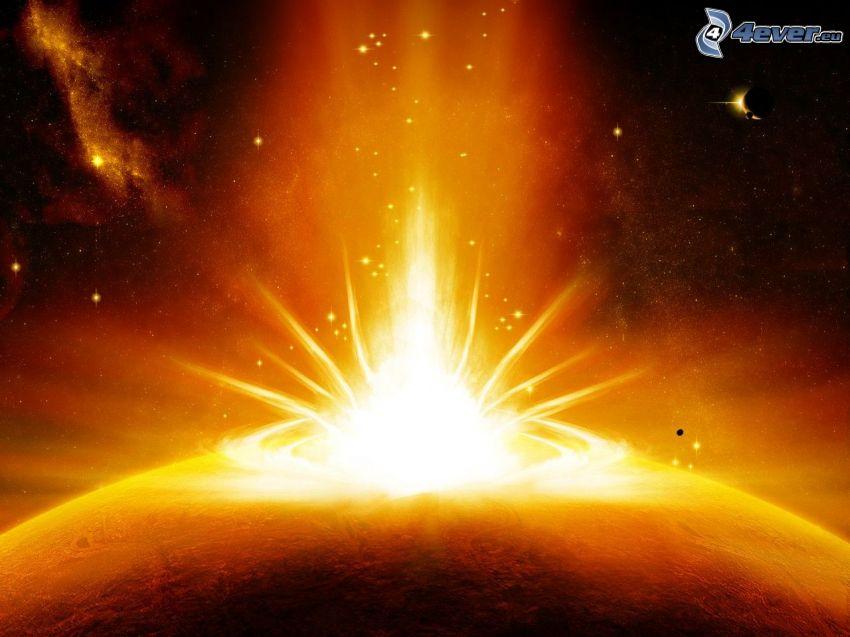 rymdkollision, explosion, planet