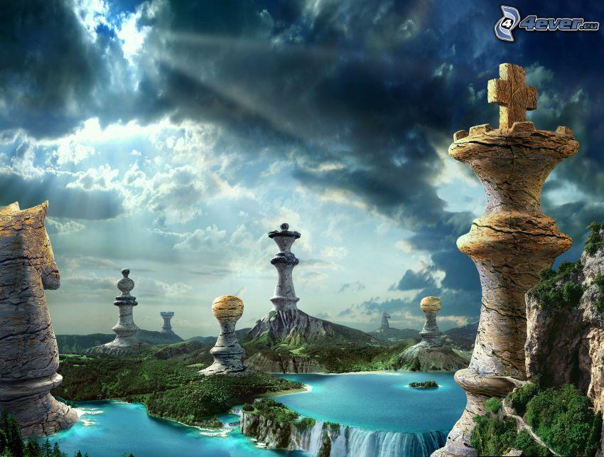 schackpjäser, vatten, träd, klippor, moln, solstrålar