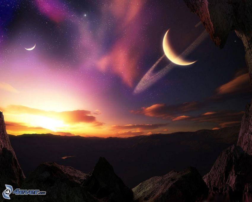 science fiction-landskap, måne, planet, berg, klippor, stjärnor, solnedgång
