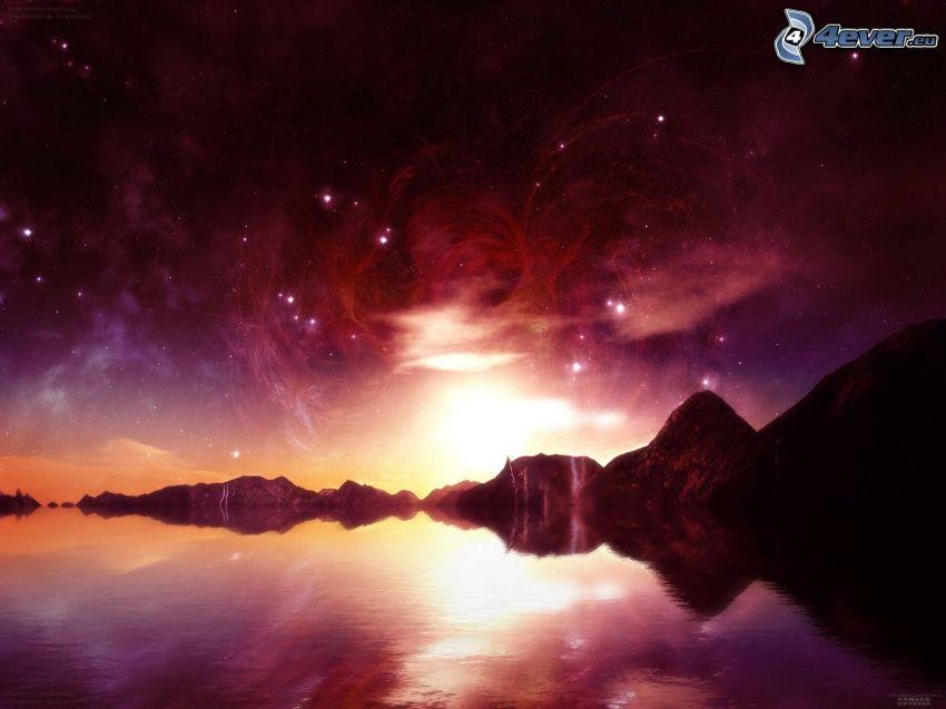 science fiction-landskap, sjö, stjärnor