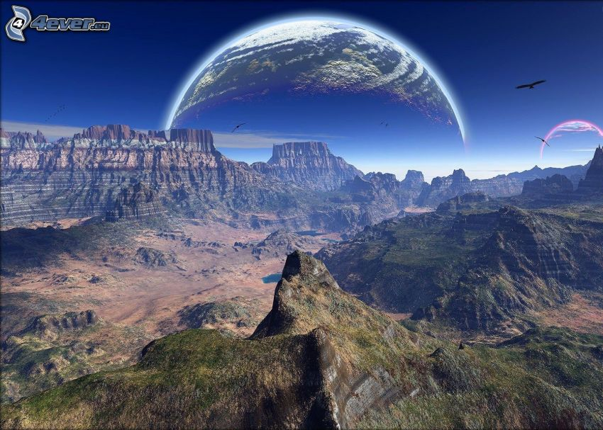 science fiction-landskap, utsikt över berg, planeten Jorden
