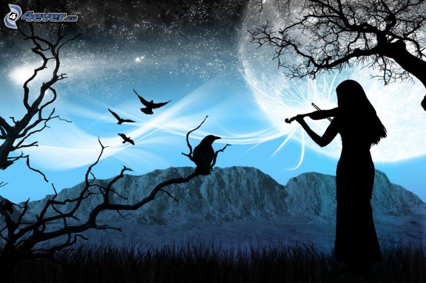 silhuett av kvinna, fiolspelare, korp, bergskedja, måne, stjärnor