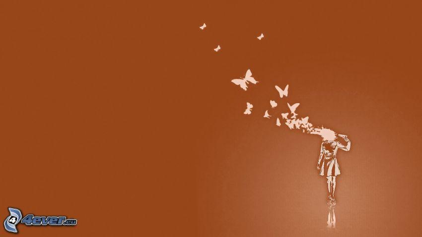 självmord, kvinna, fjärilar, död, skott