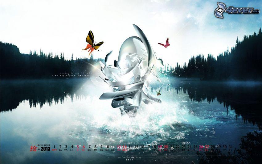 sjö, fjärilar, tecken