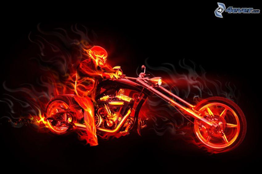 skelett, chopper, eld