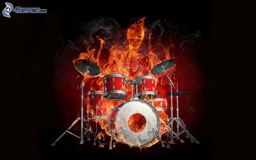 skelett, eld, trummor