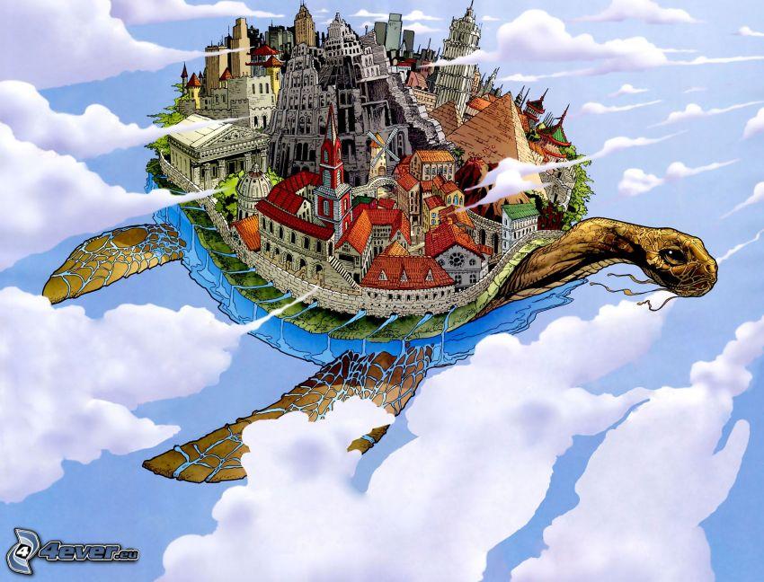 sköldpadda, flyg, byggnader, stad, moln