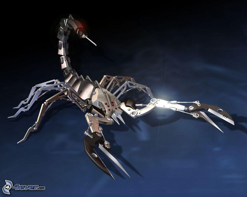 skorpion, mekaniskt djur, stål, byggsats