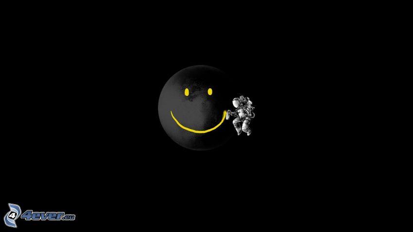 smiley, astronaut, planet