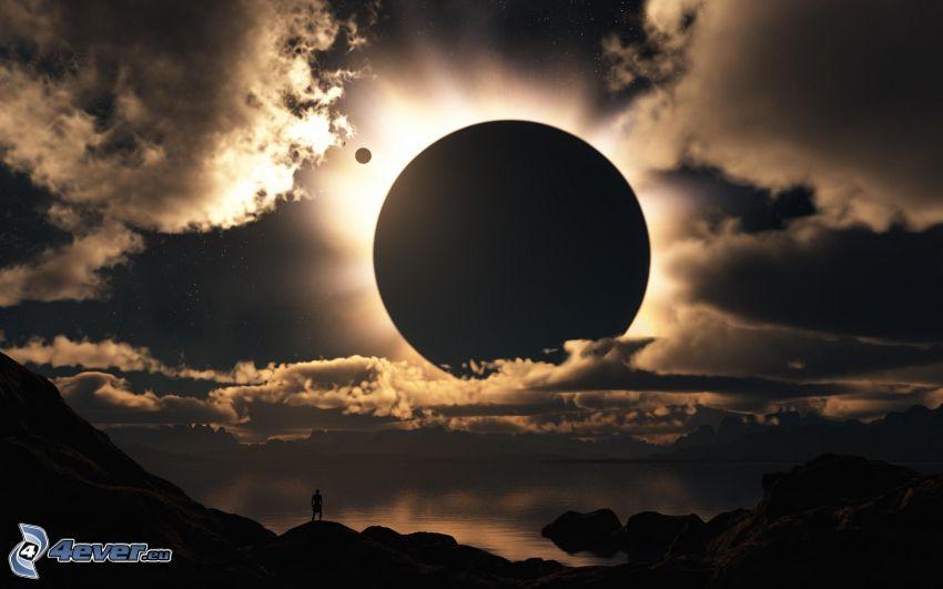 solförmörkelse, planet, moln