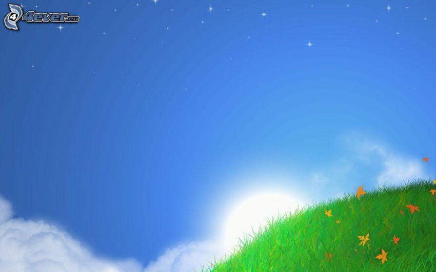 soluppgång, äng, himmel