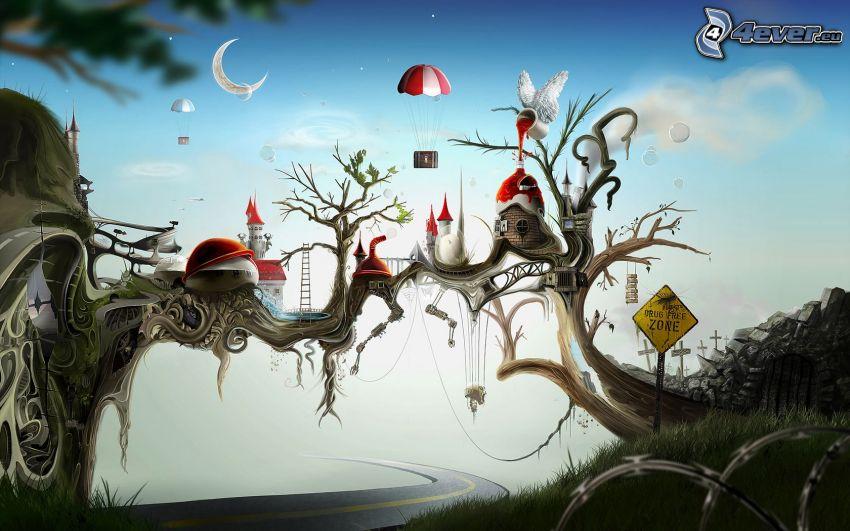 stad på träd, tecknat träd, väg