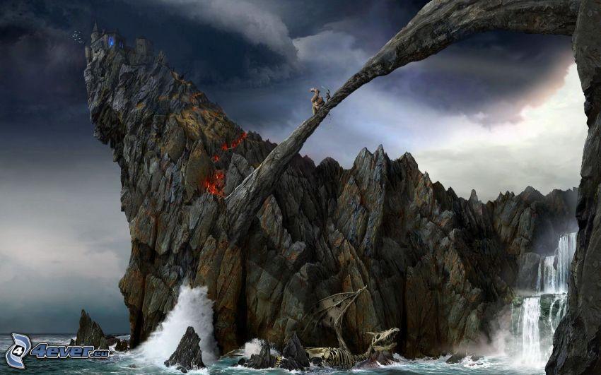 stenbro, skelett, vattenfall