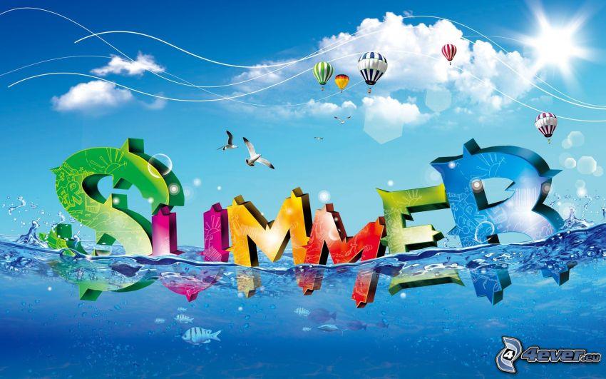 Summer, sommar, vatten, kille, ballonger