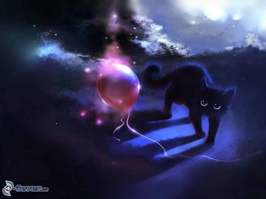 svart katt, ballong
