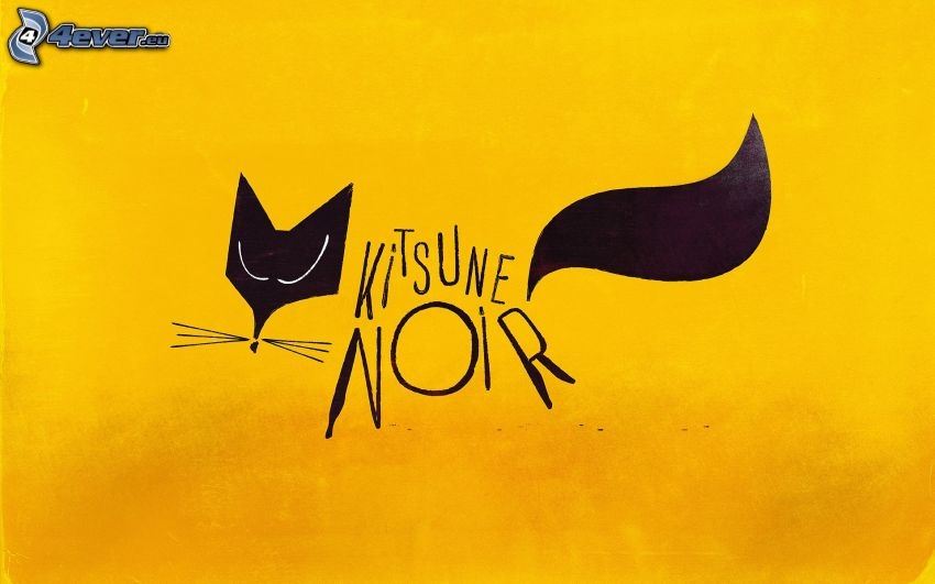 svart katt, tecknad katt