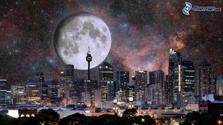 Sydney, nattstad, skyskrapor, måne, universum