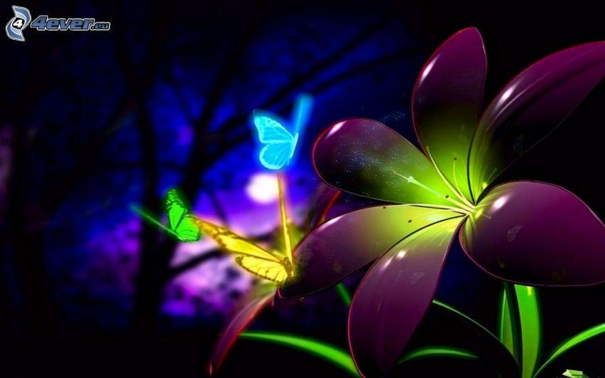 tecknad blomma, färggranna fjärilar