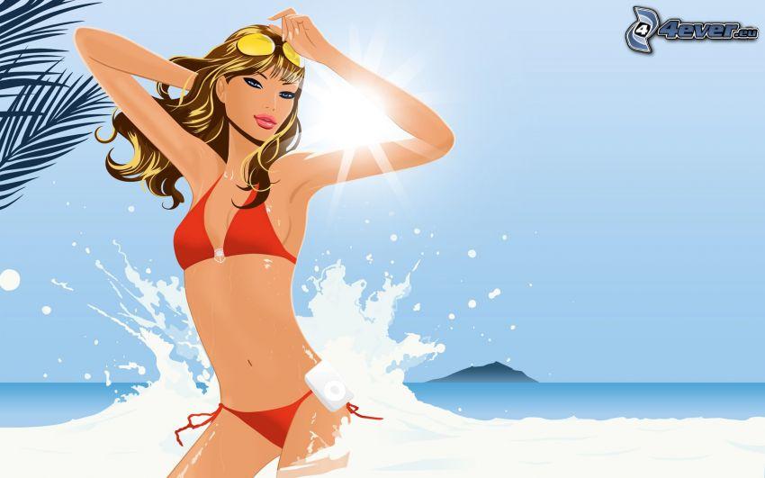 tecknad blondin, röd baddräkt, sol, hav, vågor