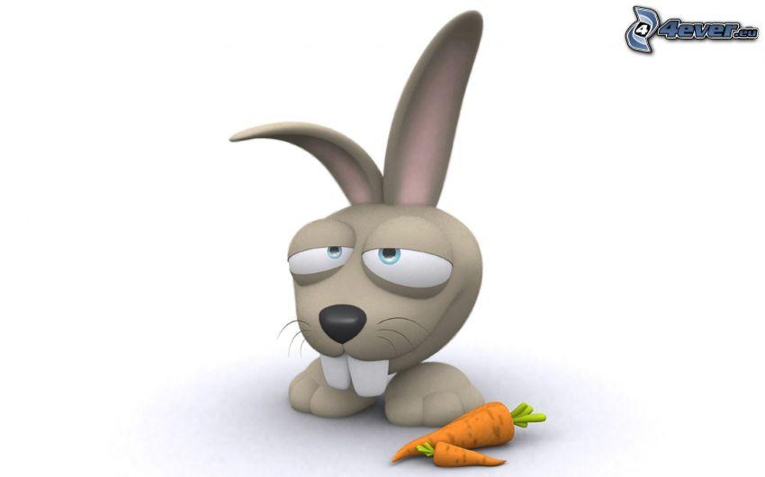 tecknad kanin, morötter