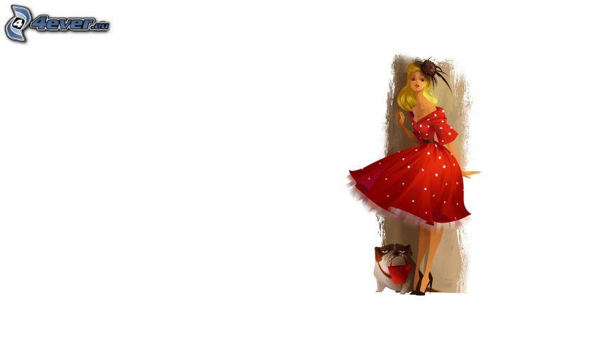 tecknad kvinna, blondin, röd klänning, hund
