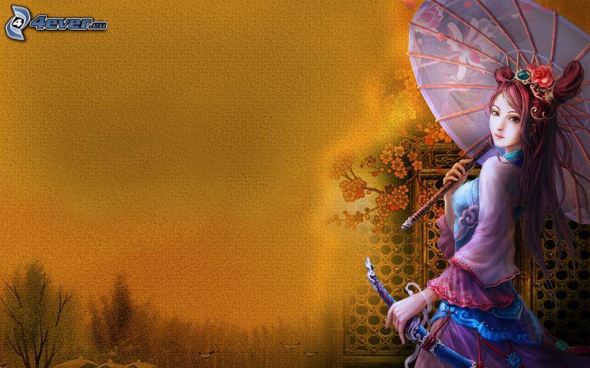 tecknad kvinna, parasoll
