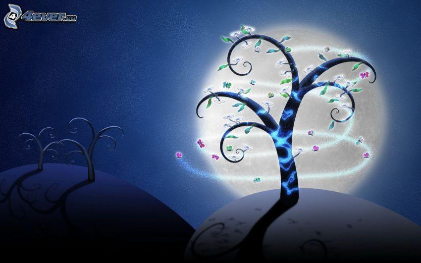 tecknade träd, måne, planeter