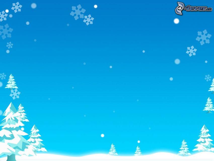 tecknade träd, vinter, snö
