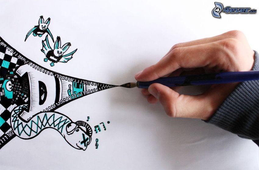 teckning, hand, fladdermöss, orm, hörlurar, dragkedja
