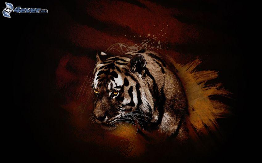 tiger, vägg