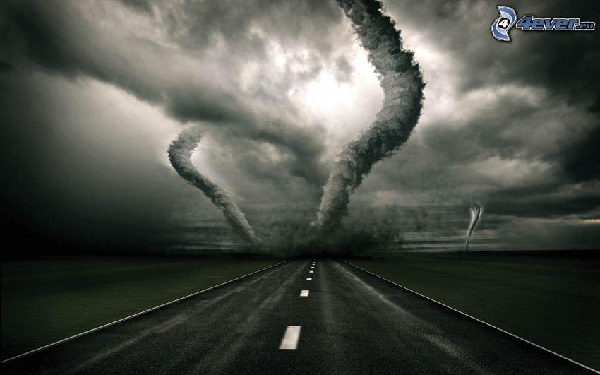 tornado, väg, digital konst