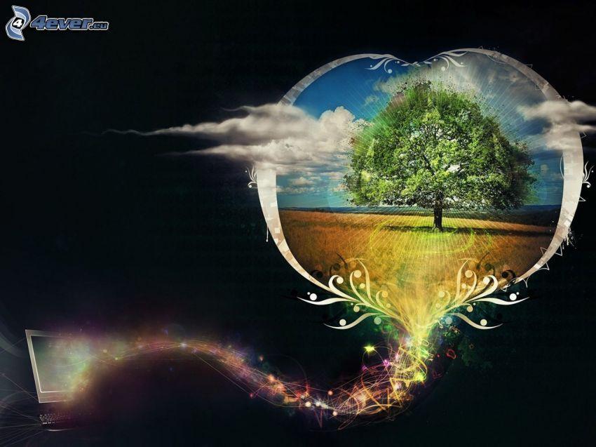 träd, åker, abstrakt