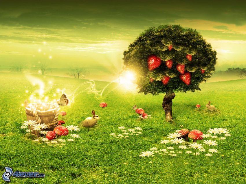 träd, jordgubbar, äng, grön bakgrund