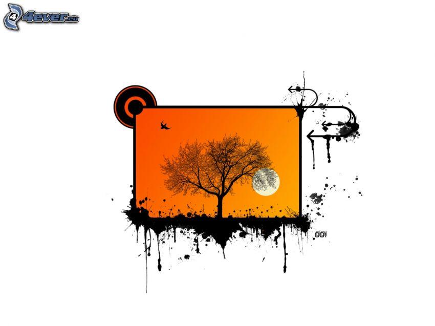 träd, måne, fågel, fläckar, pilkastning
