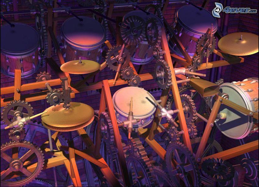 trummor, maskiner